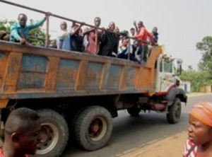 Congo, Brazzaville - 2015.08.04 - 7th Natl Conv.12 - Truck Transport after Car Broke Down